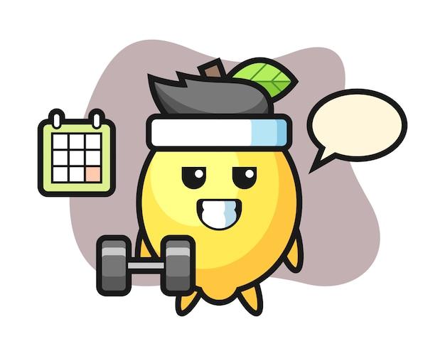 Zitronenmaskottchenkarikatur, die fitness mit hantel tut
