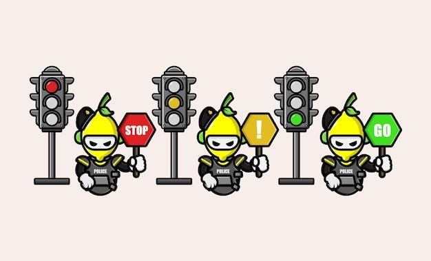 Zitronenpolizist mit verkehrszeichensymbol