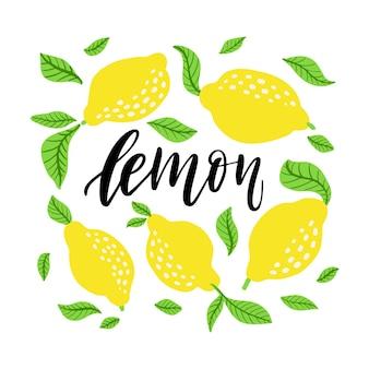 Zitronenrahmen und limonadenbeschriftung. hausgemachtes limonadenlogo und schild mit floraler zitrone und blätterrahmen im cartoon-stil. vektorillustration lokalisiert auf weißem hintergrund.