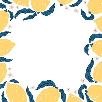 Zitronenrahmen. vorlage mit handgezeichneten zitrusfrüchten, blättern und blüten. karikaturillustration im einfachen flachen skandinavischen stil. ideal zum drucken, scrapbooking, verpacken, küchendesign
