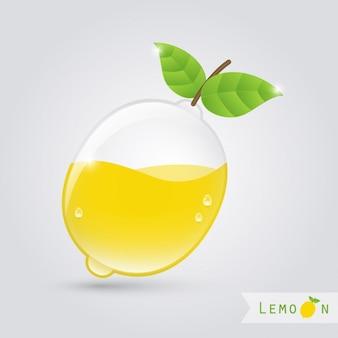 Zitronensaft glas mit zitrone innen