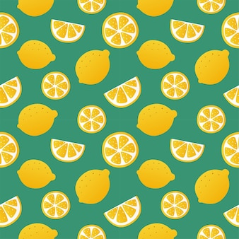 Zitronenscheiben nahtloses muster auf grünen hintergrundfruchtzitruselementen für menü