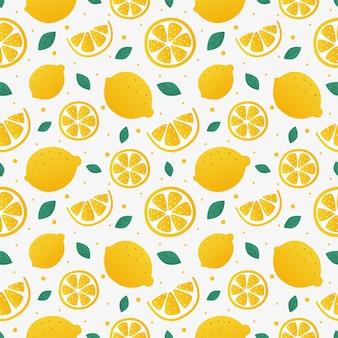 Zitronenscheiben nahtloses muster auf weißen hintergrundfruchtzitruselementen für menü