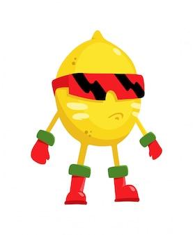Zitronensuperheld des flachen charakters der karikatur von früchten in der maske in der flachen art