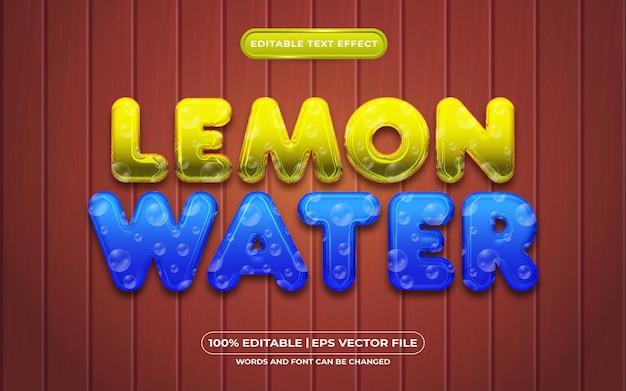 Zitronenwasser 3d bearbeitbarer texteffekt flüssiger stil