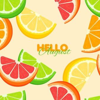 Zitrus nahtlose muster sommer vorlage mit orangen-zitronen-kalk