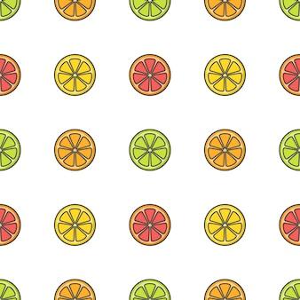 Zitrusfrucht nahtloses muster. frische orange, grapefruit, zitrone, limette illustration