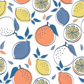 Zitrusfrucht-zitronen und orange nahtloser muster-hintergrund