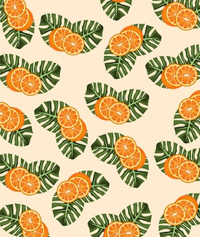 Zitrusfruchtplakat mit orangen- und blattmuster