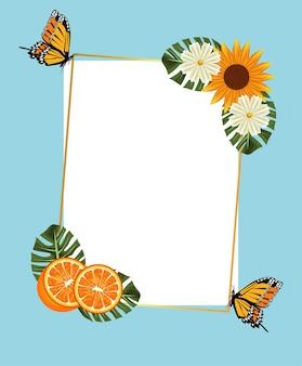 Zitrusfruchtplakat mit sonnenblume und orangen und schmetterlingen im quadratischen rahmen