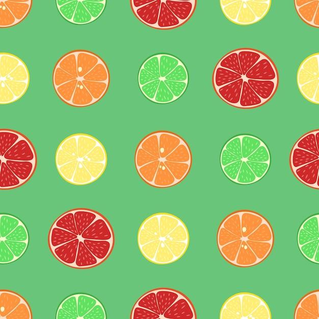 Zitrusfrüchte muster zitrone mandarine orange limette und grapefruitscheiben im schnitt nahtloser vektor