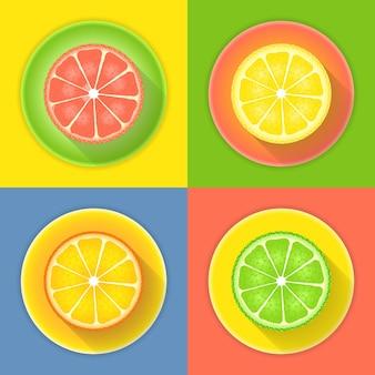 Zitrusfrüchte vier ikonen. vektor-illustration