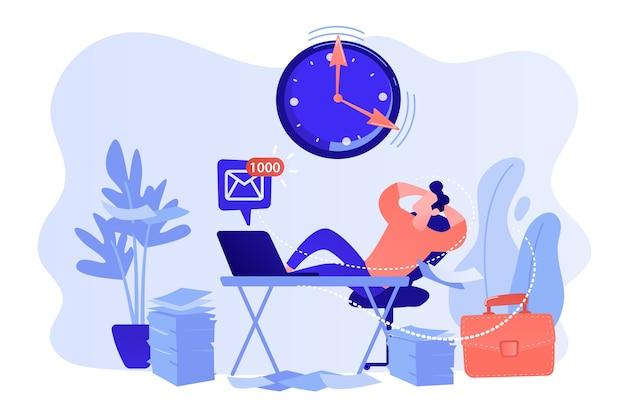 Zögernder geschäftsmann, der mit beinen auf schreibtisch sitzt, der arbeit verschiebt. aufschub, unrentabler zeitaufwand, nutzloses zeitvertreibskonzept. isolierte illustration des rosa korallenblauvektors