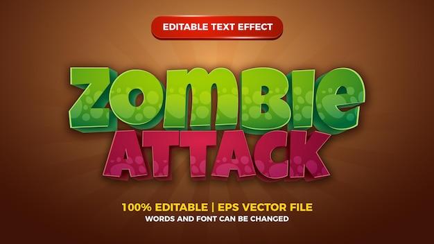Zombie angriff cartoon comic-spiele editierbarer texteffekt