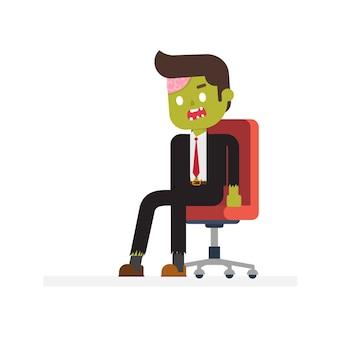 Zombie-büro, das im bürostuhl sitzt