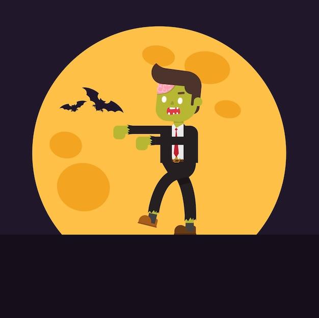 Zombie-büroangestellter mit gehirnen ausgesetzt