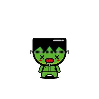 Zombie cartoon niedlichen charakter design vektor böse