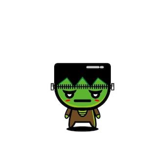 Zombie cartoon niedlichen charakter design vektor maskottchen böse