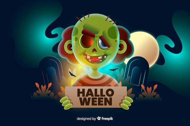 Zombie, der einen halloween-zeichenhintergrund hält