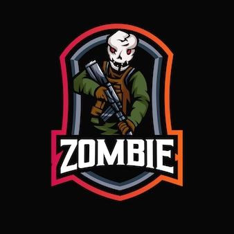 Zombie e-sport maskottchen logo design illustration
