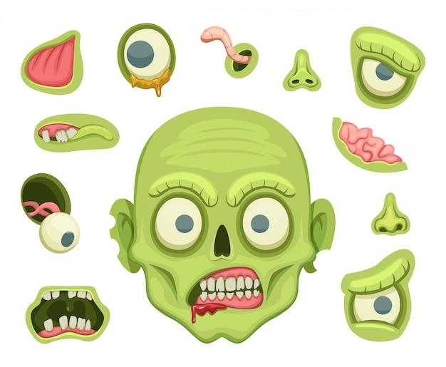 Zombie-erstellungskit. furchtsames portrait mit verschiedenen teilen für halloween-party