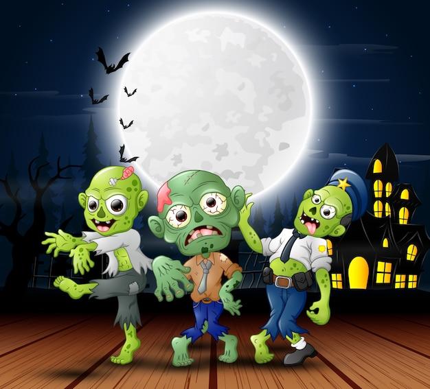 Zombie-feier der karikatur drei eine halloween-partei