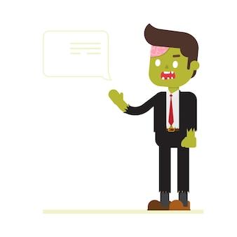 Zombie-geschäftsmann, der mit spracheblase spricht
