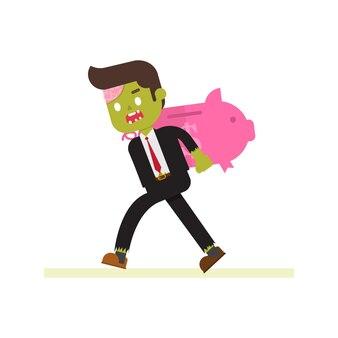 Zombie-geschäftsmann, der riesiges piggybank trägt