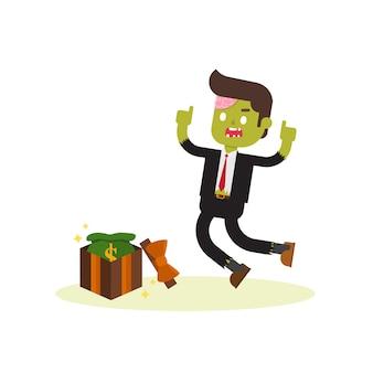 Zombie geschäftsmann mit geld in geschenkbox in bonus