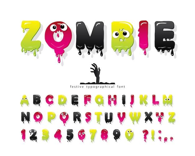 Zombie halloween schriftart. gelee schlanke bunte alphabet
