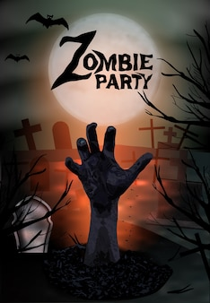 Zombie hand steigt aus dem grab, halloween-party.