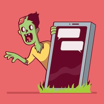 Zombie hinter einem smartphone-grab. zombie, technologie, tod, soziale medien, sucht-design-konzept