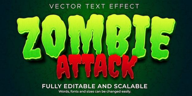Zombie-horror-texteffekt, bearbeitbares monster und gruseliger textstil