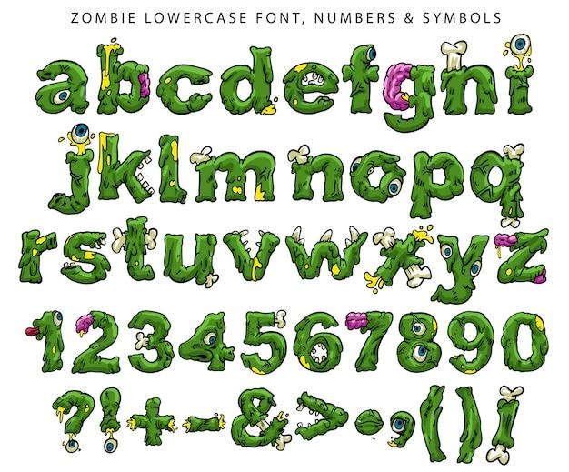 Zombie kleinbuchstaben, zahlen und symbole