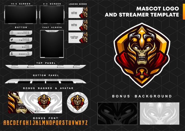 Zombie knight maskottchen logo und zuckende overlay-vorlage Premium Vektoren