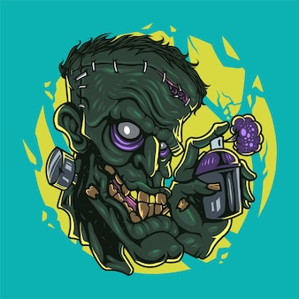 Zombie kopf maskottchen logo