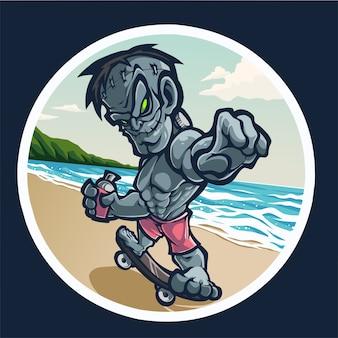 Zombie maskottchen logo mit skateboard