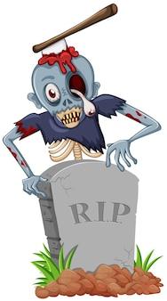 Zombie mit axt am grabstein