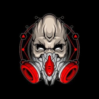 Zombie mit gasmaske