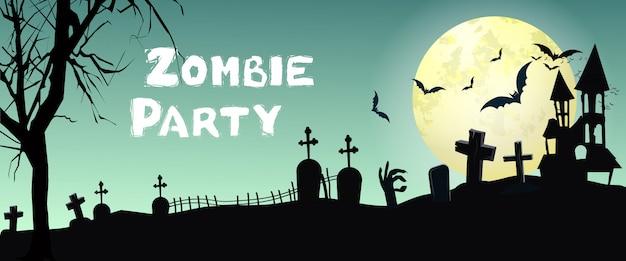 Zombie party schriftzug mit friedhof, fledermäuse und mond