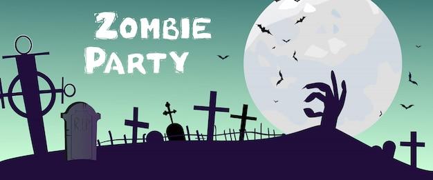 Zombie party schriftzug mit friedhof, hand und mond