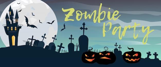 Zombie party schriftzug mit friedhof, schloss und kürbissen