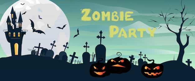 Zombie party schriftzug mit schloss, friedhof, mond und kürbissen