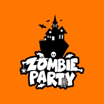 Zombie-party-typografie-design-vektor