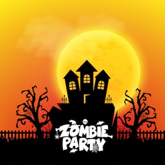 Zombie-party-typografie mit kreativem design vektor