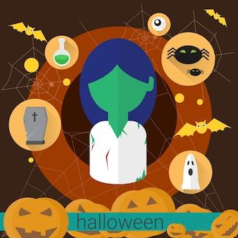 Zombie-tote frauen-flache ikone halloween