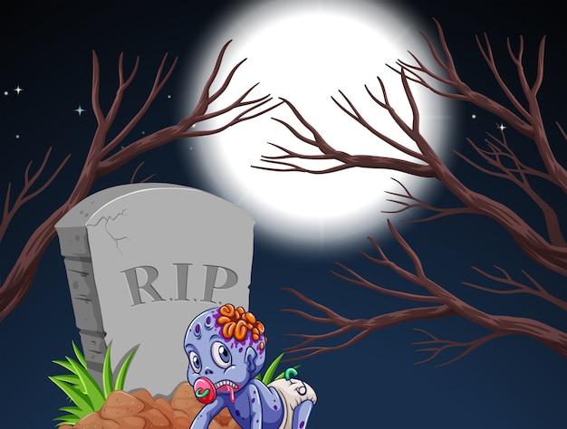 Zombie und grabstein in der nachtszene