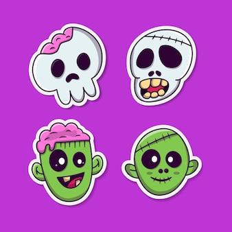 Zombie und schädel kopf cartoon aufkleber halloween illustration