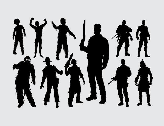 Zombie und zombie killer silhouette