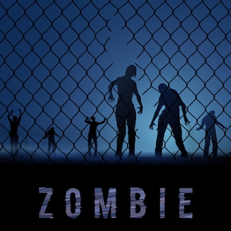 Zombie walking. silhouetten illustration für halloween poster